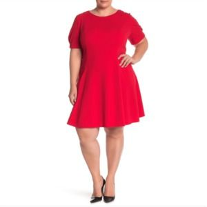 Eliza J Puff Sleeve Fit & Flare Skater Style Dress